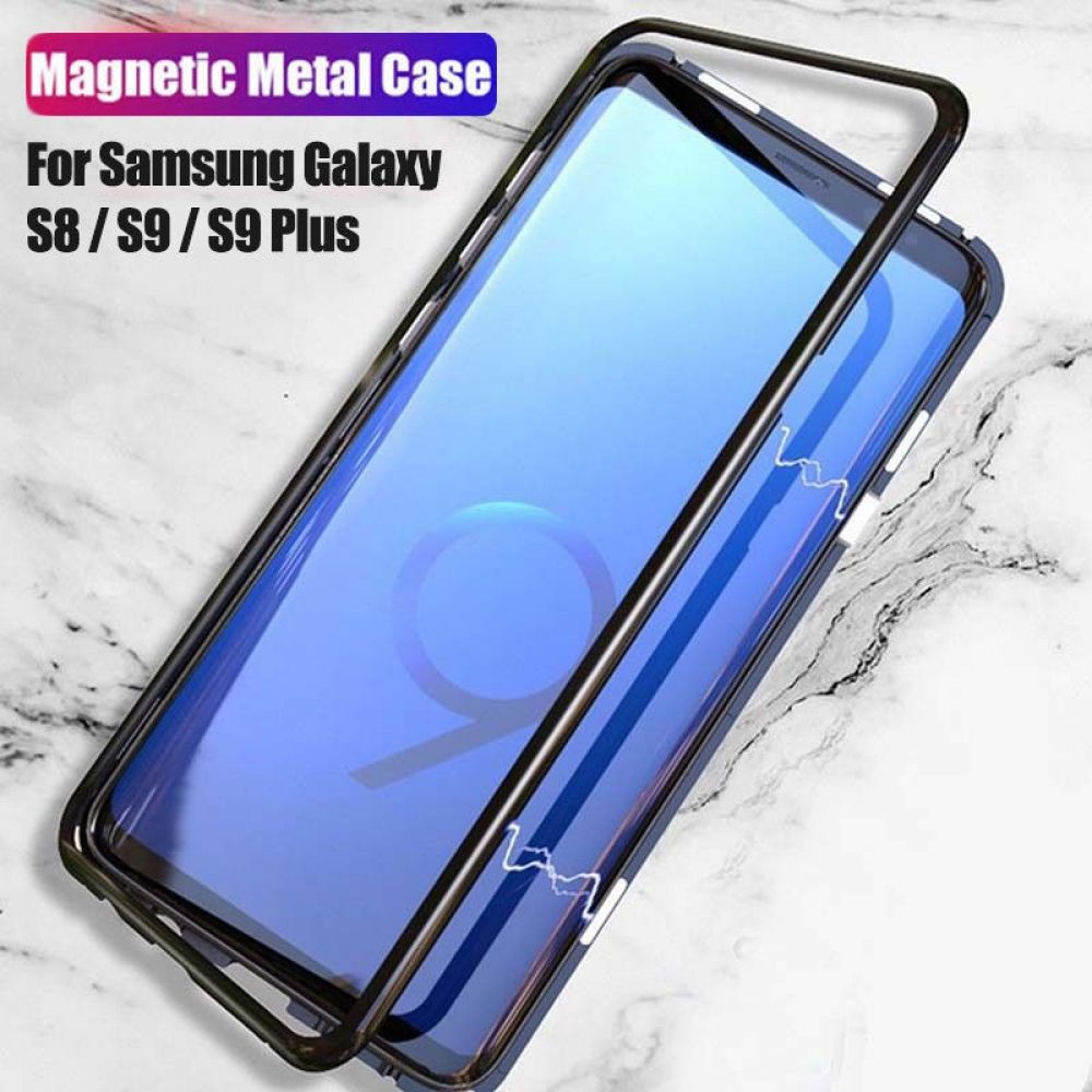 New Magnetic Metal Tempered Glass Back Case Samsung S8 S9 Plus Note 8 Absorption Back Case For Glass Magnetic Metal Samsung Samsung Cases Samsung Galaxy