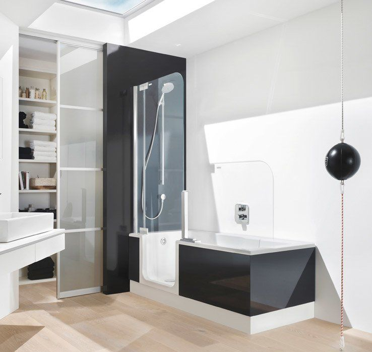 TWINLINE 2 Duschbadewanne mit Schürze in Anthrazit | © Artweger ... | {Duschbadewanne mit tür 39}