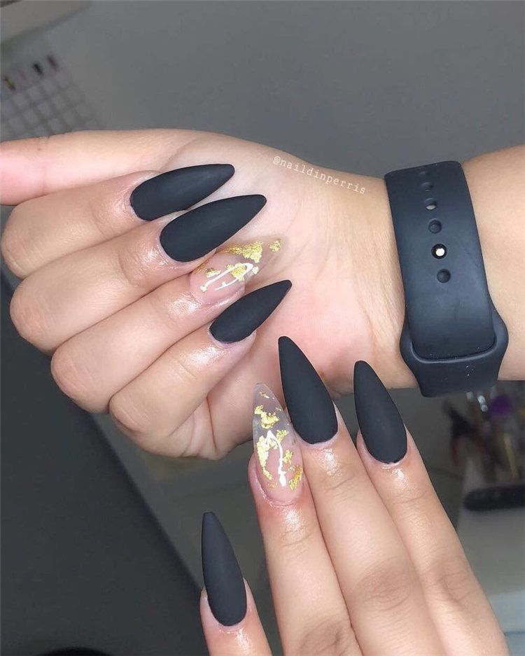 40+ Cool Matte Black Nails Ideas To Copy in 2019