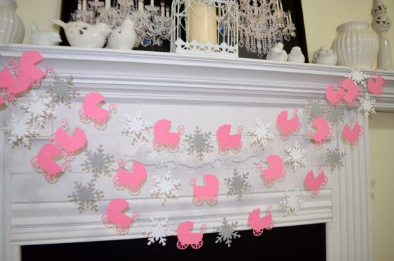 Baby Shower Garland Baby Carriage Snowflakes Winter Baby Decorations