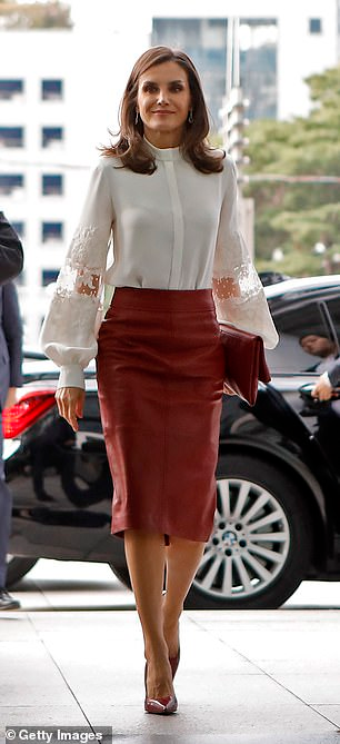 Meghan Markle sports a red skirt worn by Queen Letizia of