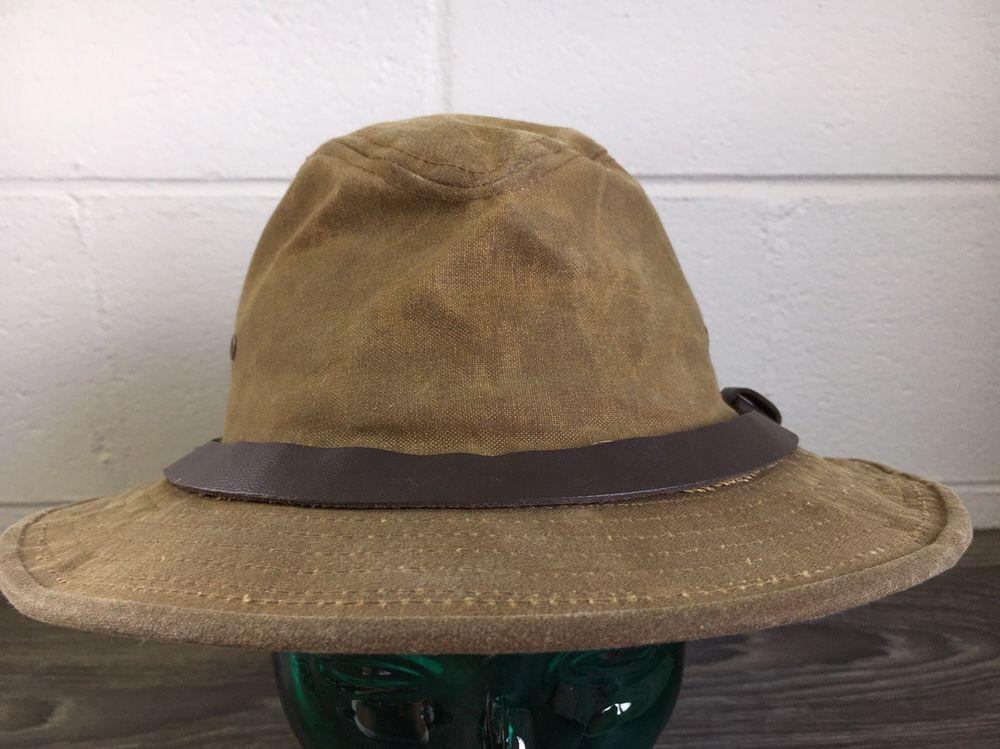 c05b5f54567 Filson Packer Hat Vtg Tin Cloth USA Made Tan Outdoors Fishing Large  15   Filson  Packer