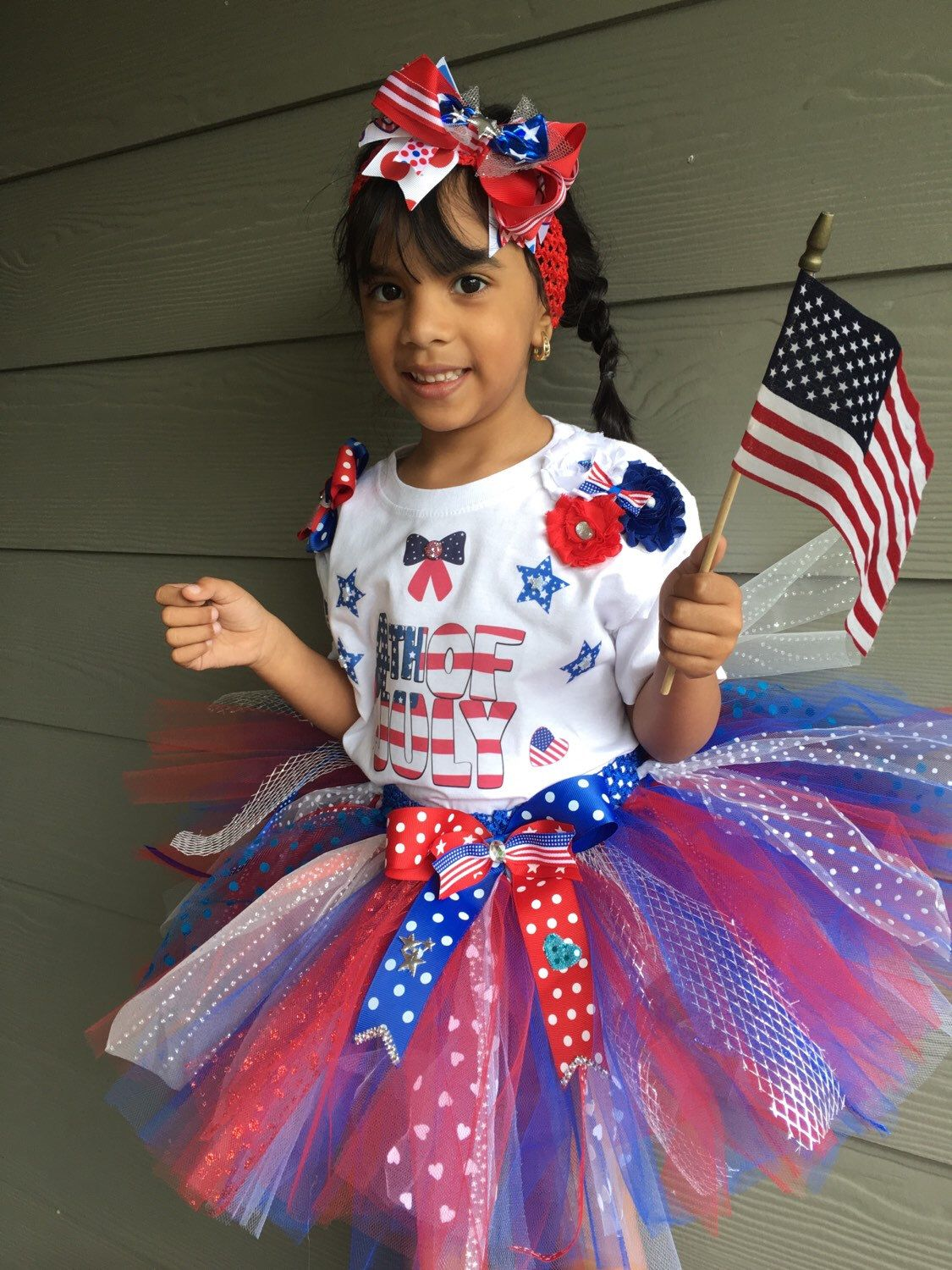 Toddler Baby Kid Girls America 4th-of-July Off Should Tops Tulle Skirt Outfits