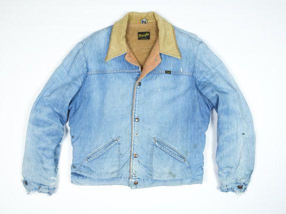 Vintage Wrangler Jean Jacket Men S Large Distressed Denim Jacket Sherpa Lined Trucker Jacket L Vintage Wrangler Jeans Vintage Jean Jacket Jean Jacket Men