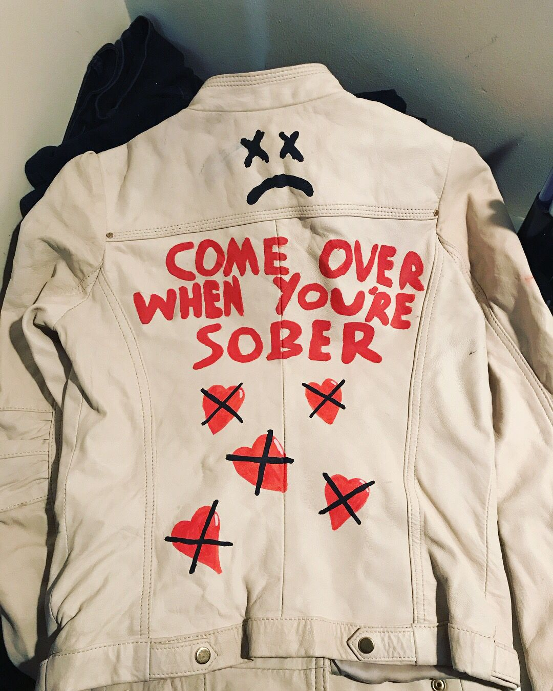 Lil peep themed leather jacket Available through my