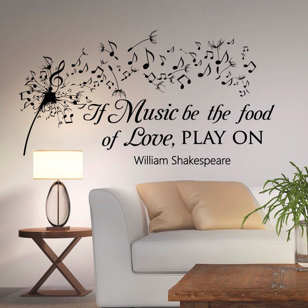 Deer head wall decal option a modern wall decals by dana decals - Dandelion Wall Decals Quotes Music Notes Vinyl Lettering If Music Be The Food Of Love Play