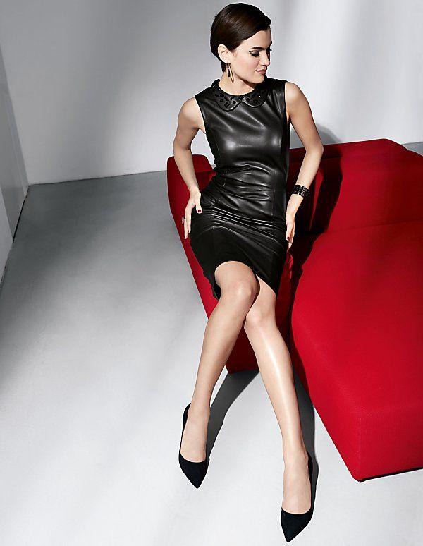 Etui-Kleid aus Leder   MADELEINE Mode   Leather Woman   Pinterest ...