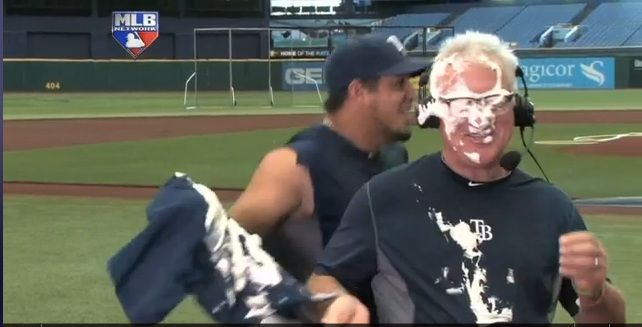 Before the Rays took on the Royals, Joel Peralta thought it would be funny to pie Joe Maddon during a live pregame interview with MLB Network.
