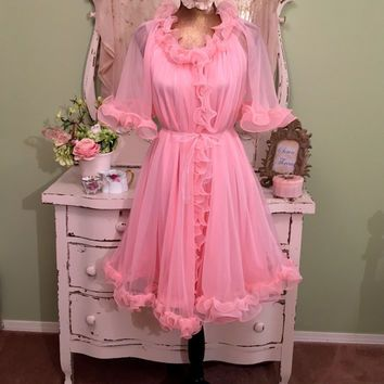 Vintage Short Pink Peignoir Set Large Early 60s Chiffon Robe with Matching Nightgown Retro Pin Up Lingerie