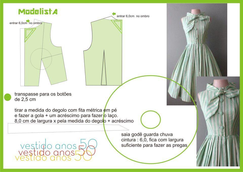 vestido vintage   moda - costura   Pinterest   Vestidos vintage ...