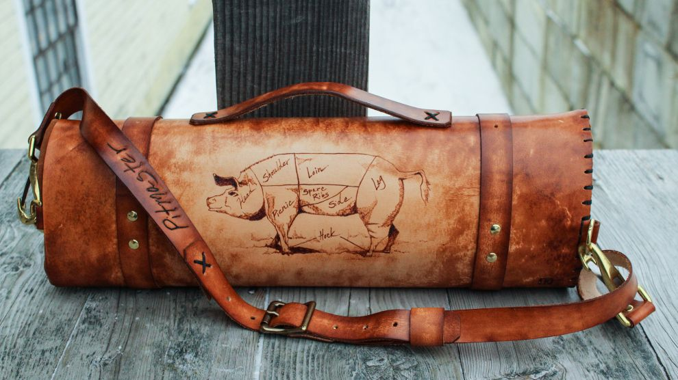 Longhorn Cow Leather Knife Roll With