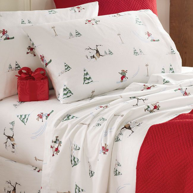 Alpine Winter Flannel Sham Flannel Bed Set Christmas Bedding Holiday Bed