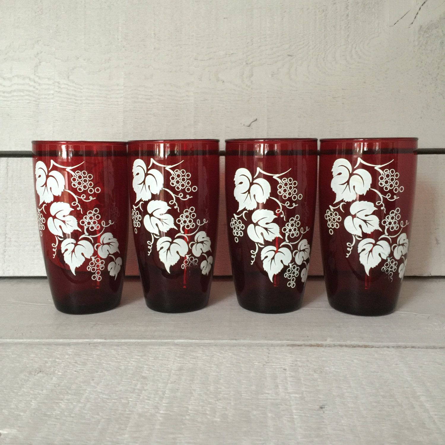 Red Kitchen Glassware: Ruby Red Glass Tumblers