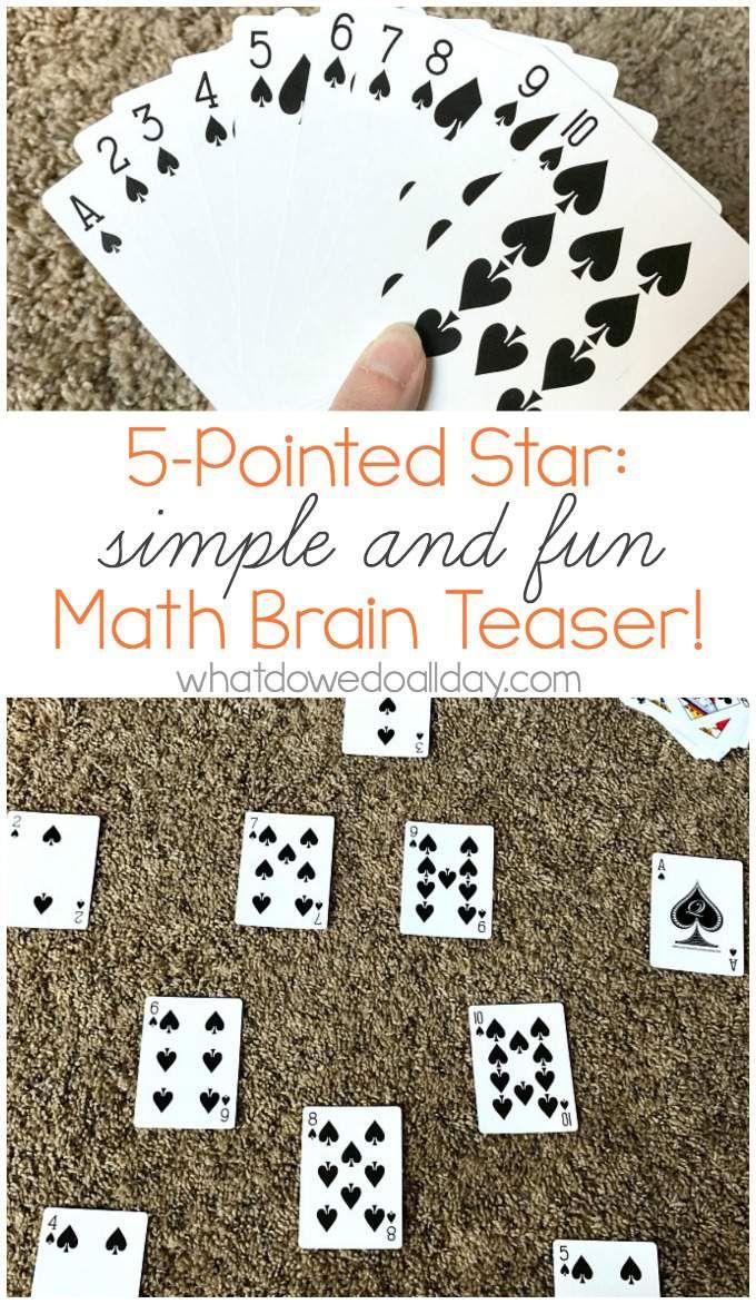 Five Pointed Star A Math Card Puzzle Math card games