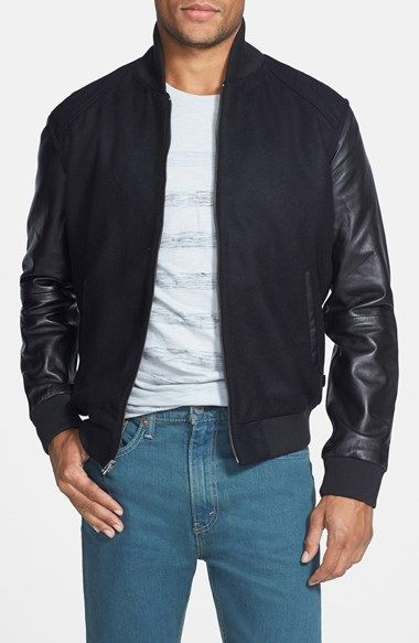 fa3d32ab21c Levi s® Wool Blend Varsity Jacket with Leather Sleeves available at   Nordstrom