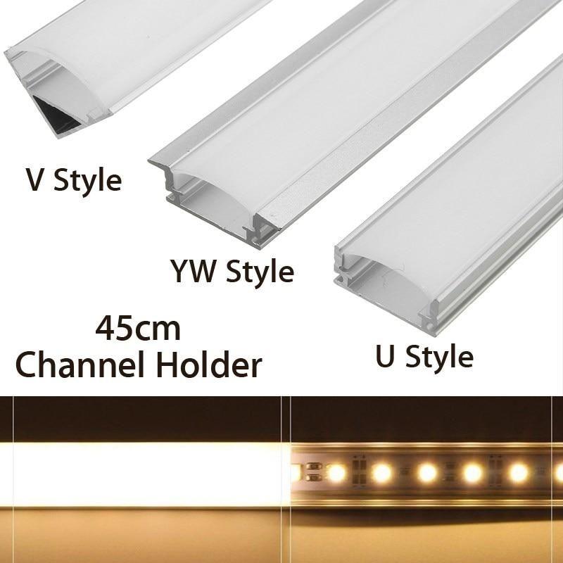 U V Yw Style Shaped 45cm Silver Aluminium Led Bar Light Channel Holder In 2020 Led Strip Lighting Installing Led Strip Lights Strip Lighting