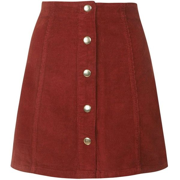 TOPSHOP Cord Button Front A-Line Skirt ($46) ❤ liked on Polyvore featuring skirts, brick, cotton knee length skirt, knee length a line skirt, red skirt, red a line skirt and topshop skirts