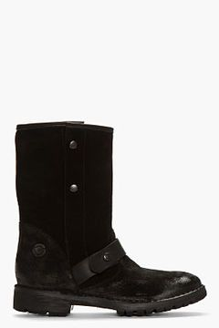 DIESEL BLACK GOLD Black Distressed Suede Buttoned Boots on shopstyle.com