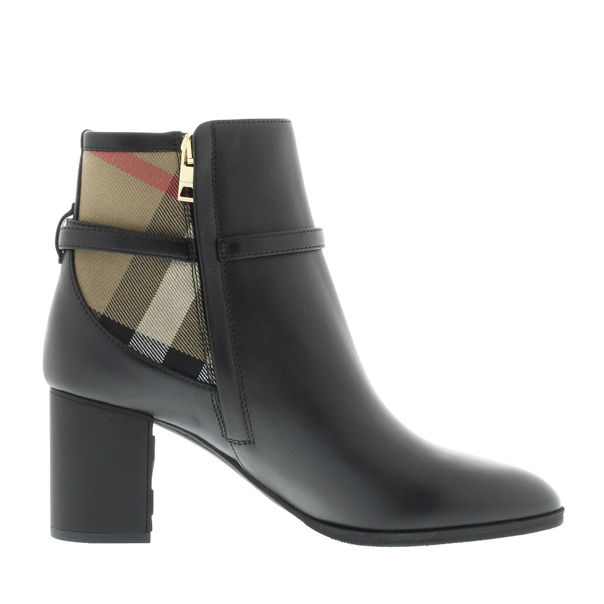Burberry Stebbingford 70 Ankle Boot Housecheck Chain Black Boots & Booties…