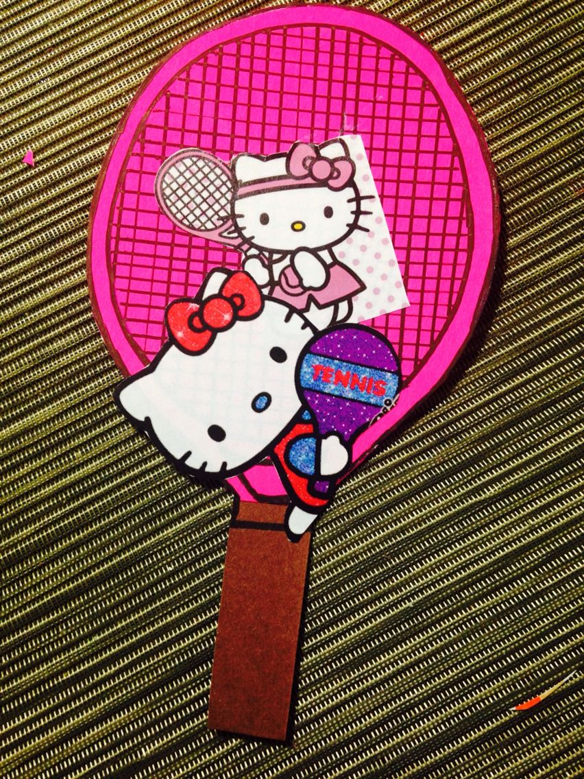 Cut pink and brown chart paper in tennis shape 2 Glue both