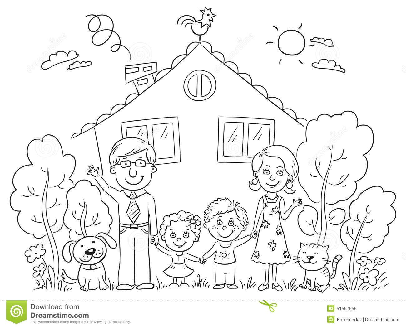 Free Clipart Picture Of My House And Family Black And White Outlines