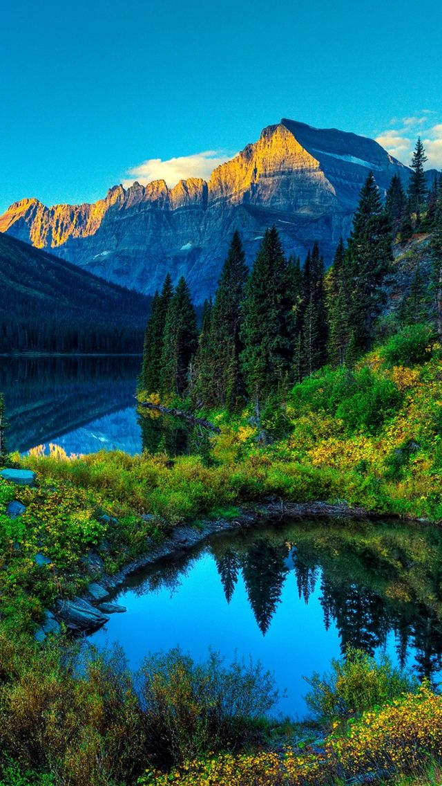 HDR Mountains Lake iPhone 5 Wallpaper Bon Voyage