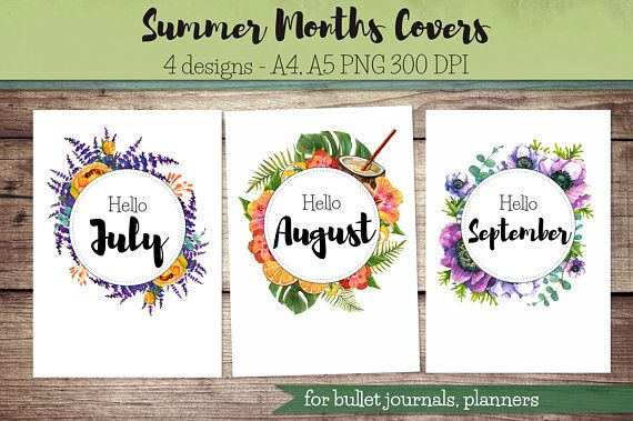 Summer Months Covers for Bullet Journal Planner / hello July Best - visitor sign in sheet template