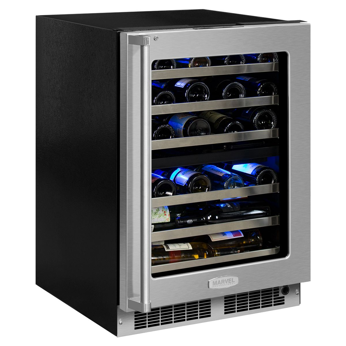 Mp24wd Marvel Professional 24 High Efficiency Dual Zone Wine Refrigerator Shire Blue Light