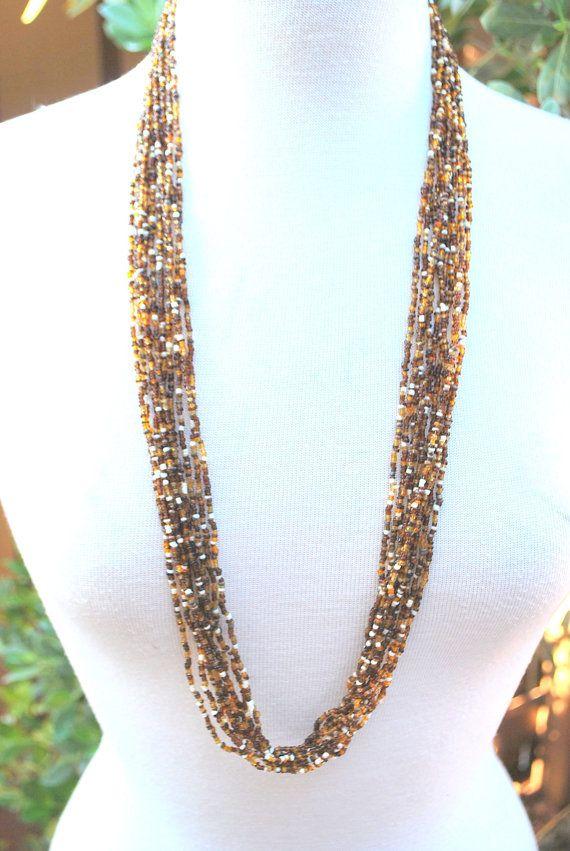 Vintage Seed Bugle Bead Layered Beaded Necklace Boho by MyBlueBag