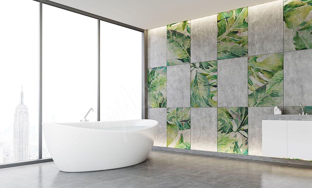 Naklejki Na Kafelki Lazienkowe Egzotyczne Liscie Bathroom Bathtub