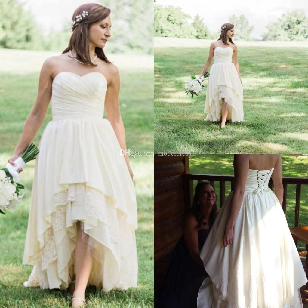 Discount High Low Western Country Wedding Dresses 2018 Sweetheart A Line Tired Skirt Lace H Hi Low Wedding Dress Wedding Dresses High Low Backless Bridal Gowns