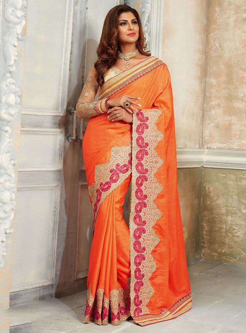 Off white tussar silk saree orange tussar silk festival wear saree   tussar silk saree