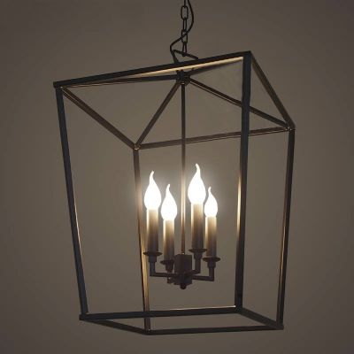 Matte Black 4 Light Square Open Cage LED Pendant