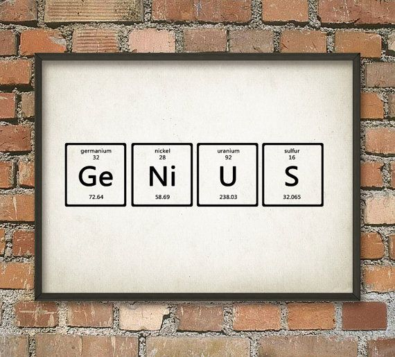 Genius Wall Art Poster Periodic Table Of Elements Scientific Home Decor Chemistry