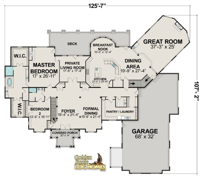 Log homes and log home floor plans cabins by golden eagle for Southfork ranch floor plan