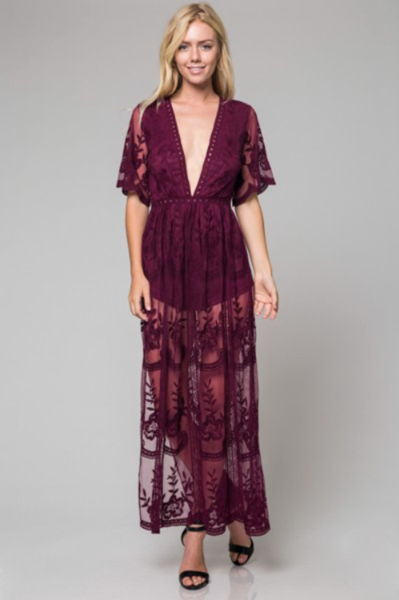 00069de805a Preorder - Bardot Lace Maxi Romper - Wine