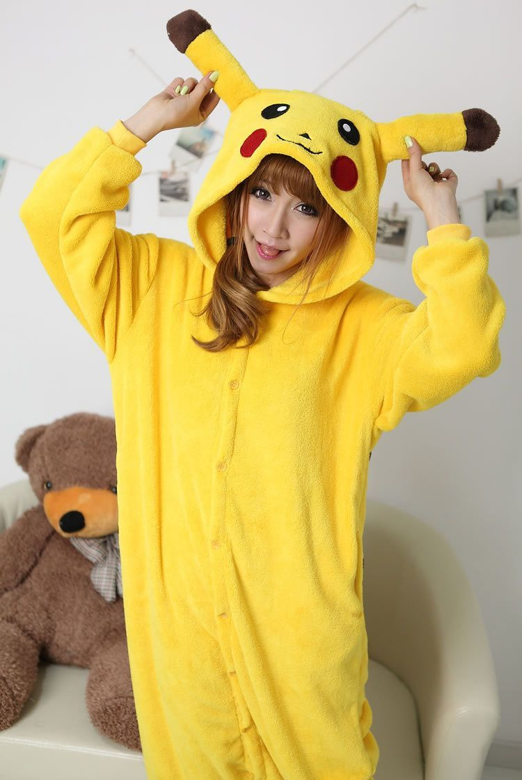 Adult Women Girls Onesies Pikachu Cosplay Costume Halloween Party Pokemon  Cosplay Pajamas Pyjamas Sleepwear Flannel Winter ac60547c0