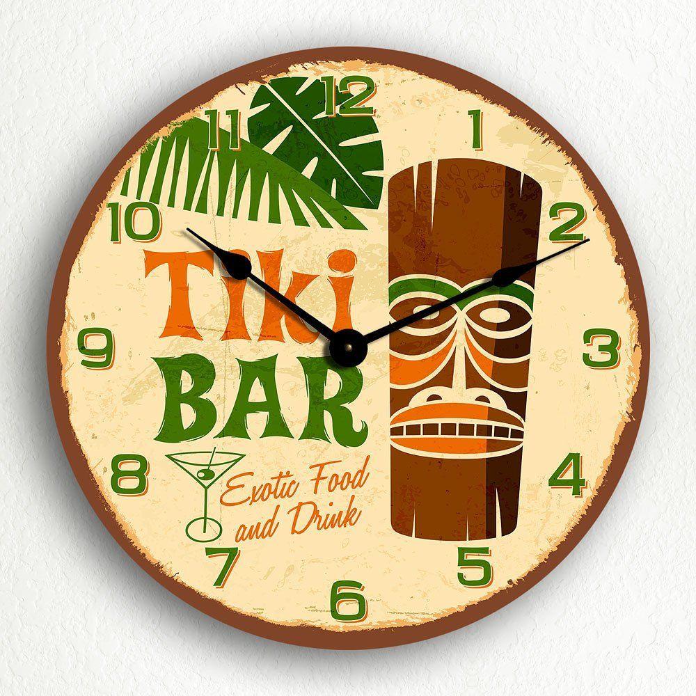 Tiki Bar Retro Tropical Polynesian Themed 12\' Silent Wall Clock ...