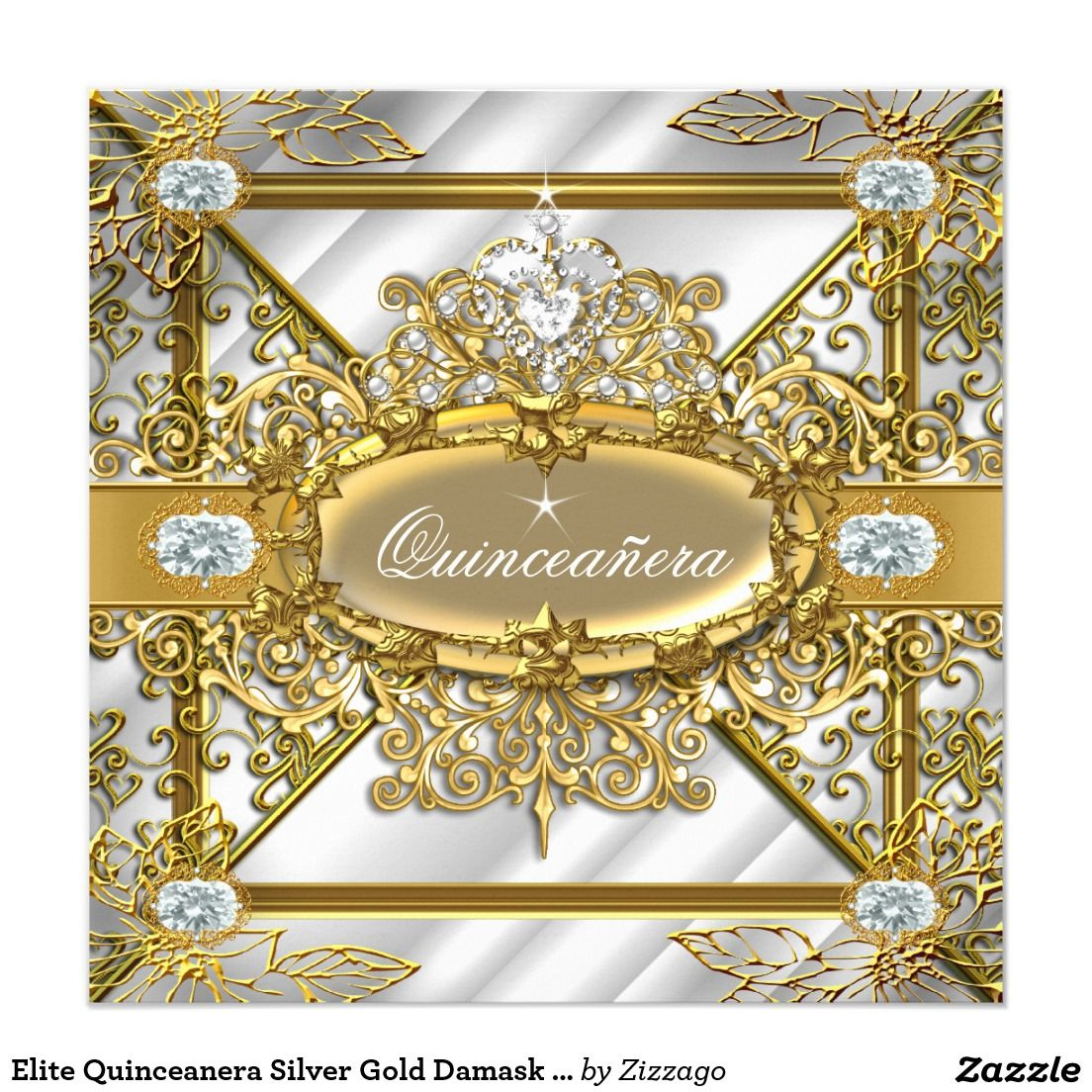 Elite Quinceanera Silver Gold Damask 15th Birthday Invitation ...