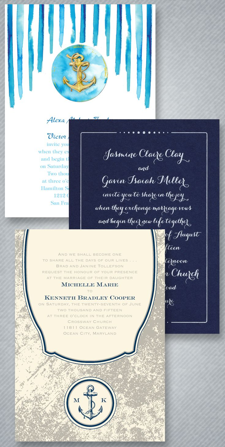 Nautical wedding? Watercolor, classic and crisp or rustic, find an ...