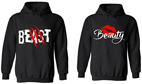 bf5609fe4d5abe Beast   Beauty - Matching Couple Hoodies - His and Her Sweaters… (Halloween  Couples Relationship Goals)