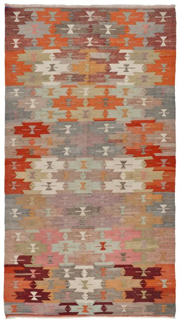 1754 vintage anatolian kilim at loom rugs. I like the colors, again, totally different kind of rug, but I like the way the color plays and the shapes repeat. | http://loomrugs.com/rugs/vintage-antique-kilims