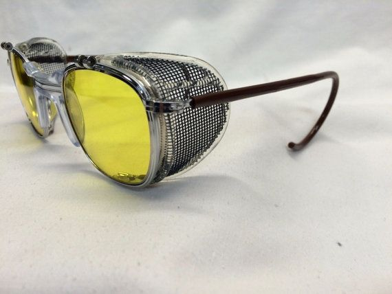1e12d5844daf True Vintage American Optical AO Safety Glasses Dr. Holtzmann Inspired  Yellow Lens Side Shields