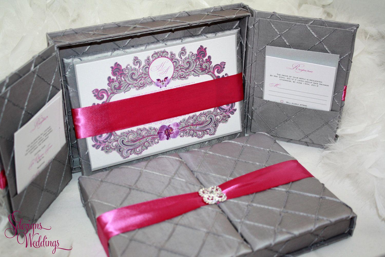 Box Wedding Invitation | Gray Wedding Invitation | Orchids Wedding ...