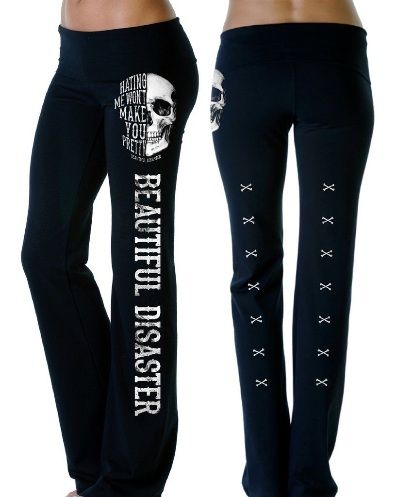 096c78f48212b Beautiful disaster black yoga pants with skulls. Black yoga pants for a  casual outfit. #yogapants #beautifuldisaster
