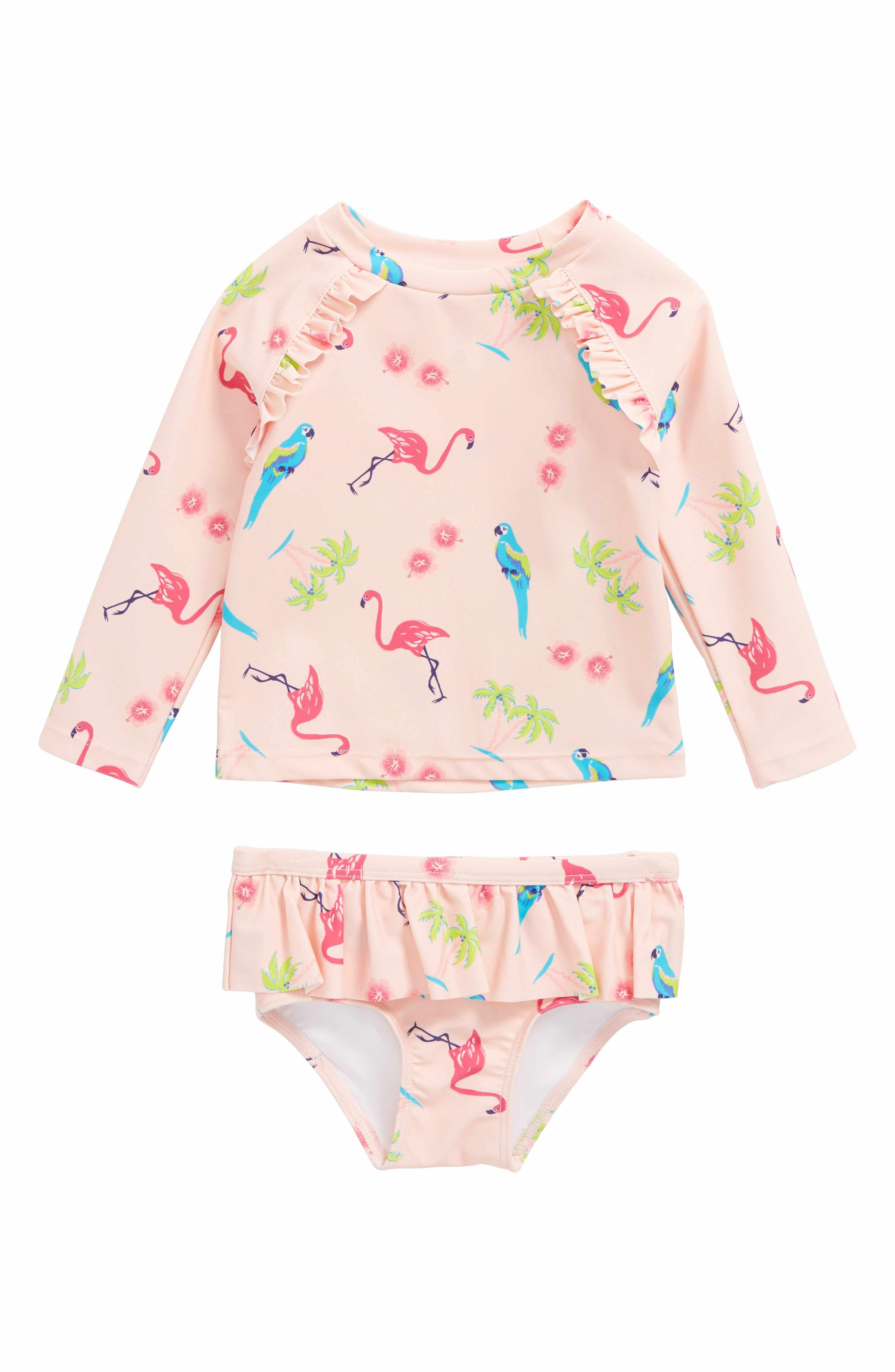 1ca38b1795 Main Image - Tucker + Tate Two-Piece Rashguard Swimsuit (Baby Girls ...