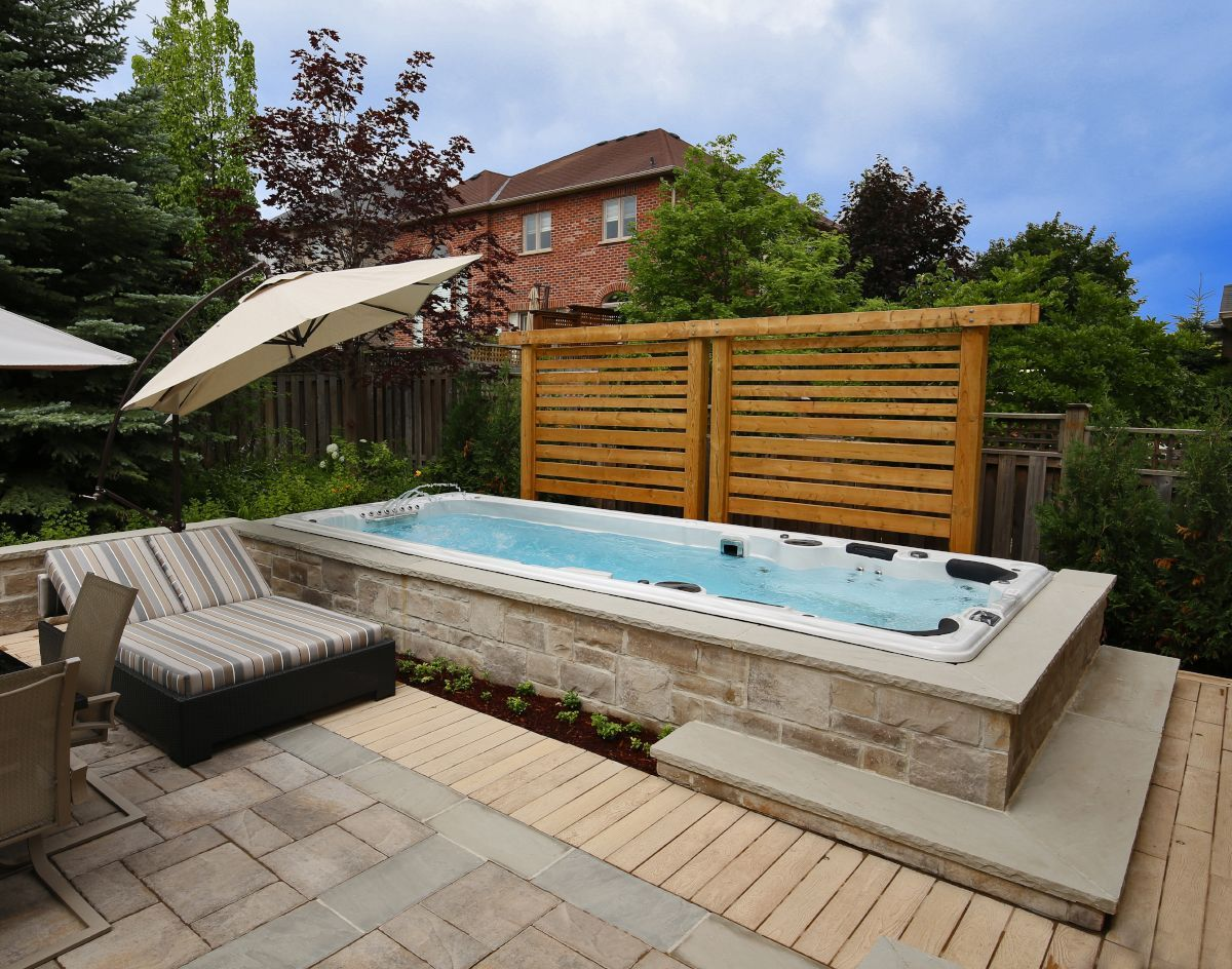 11 Clever Ideas How To Build Backyard Spa Ideas Backyard Spa Hot Tub Backyard Swim Spa Landscaping