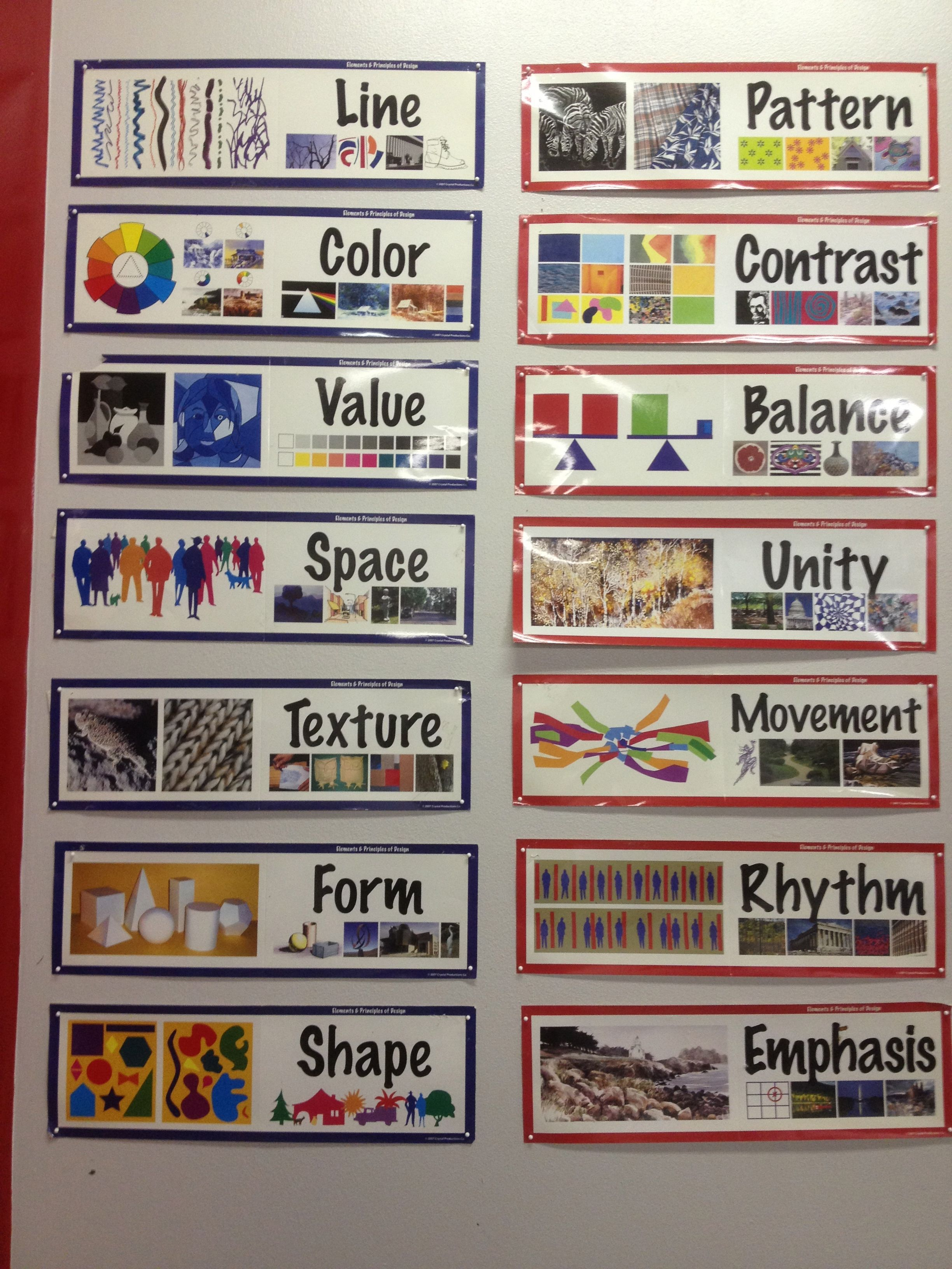 principles and elements of art posters nicely displayed within the art room space. Be sure to keep them at the eye level of the students you are working with so they can see them well.