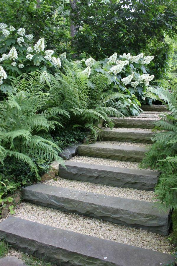 gartengestaltung mit kies und steinen steine trittstufen pflanzen, Gartenarbeit ideen