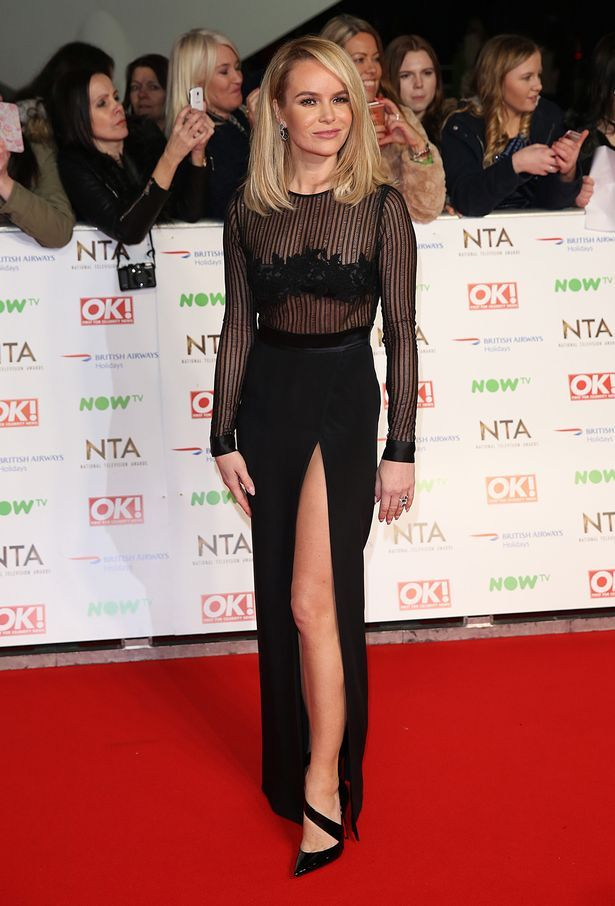 2745d83a3ea5 Amanda Holden wows in sexy sheer black dress with dramatic thigh split at  the National Television Awards - TheCelebrityauction.co